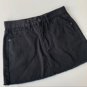 Brandy Melville Raw Hem Black Denim Skirt